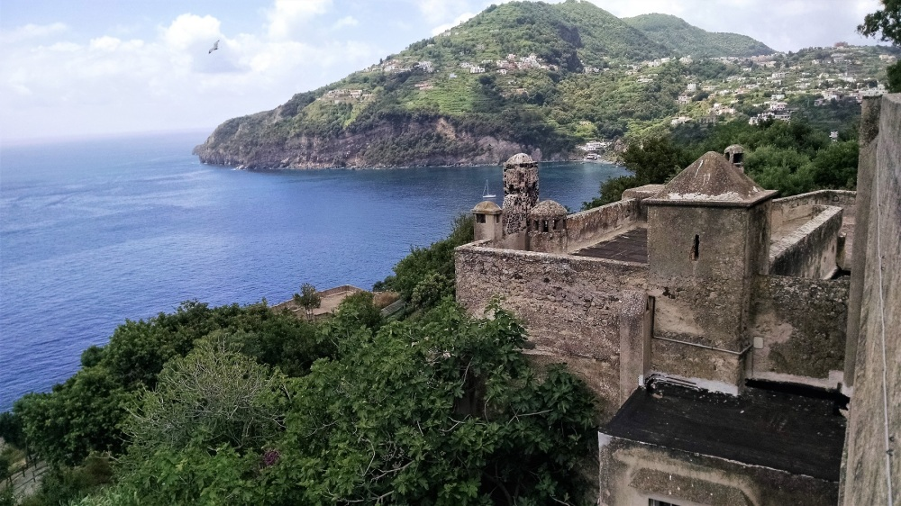 View from Castle of more isolated area of Ischia